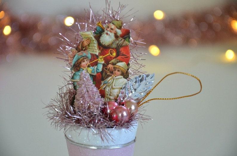 Victorian Christmas Ornament  German Die Cut Santa Ornament  Santa Claus Boot