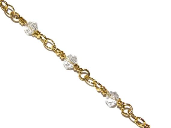 Claire à facettes perles sur une chaîne en métal doré perlé chaîne chapelet Style chaînes d'alimentation par les Options de mètre du pied