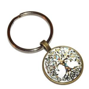 1.25 Inch Key Ring with 1 Inch Design Cabochon KeyChain Chain Echocardiogram Heartbeat