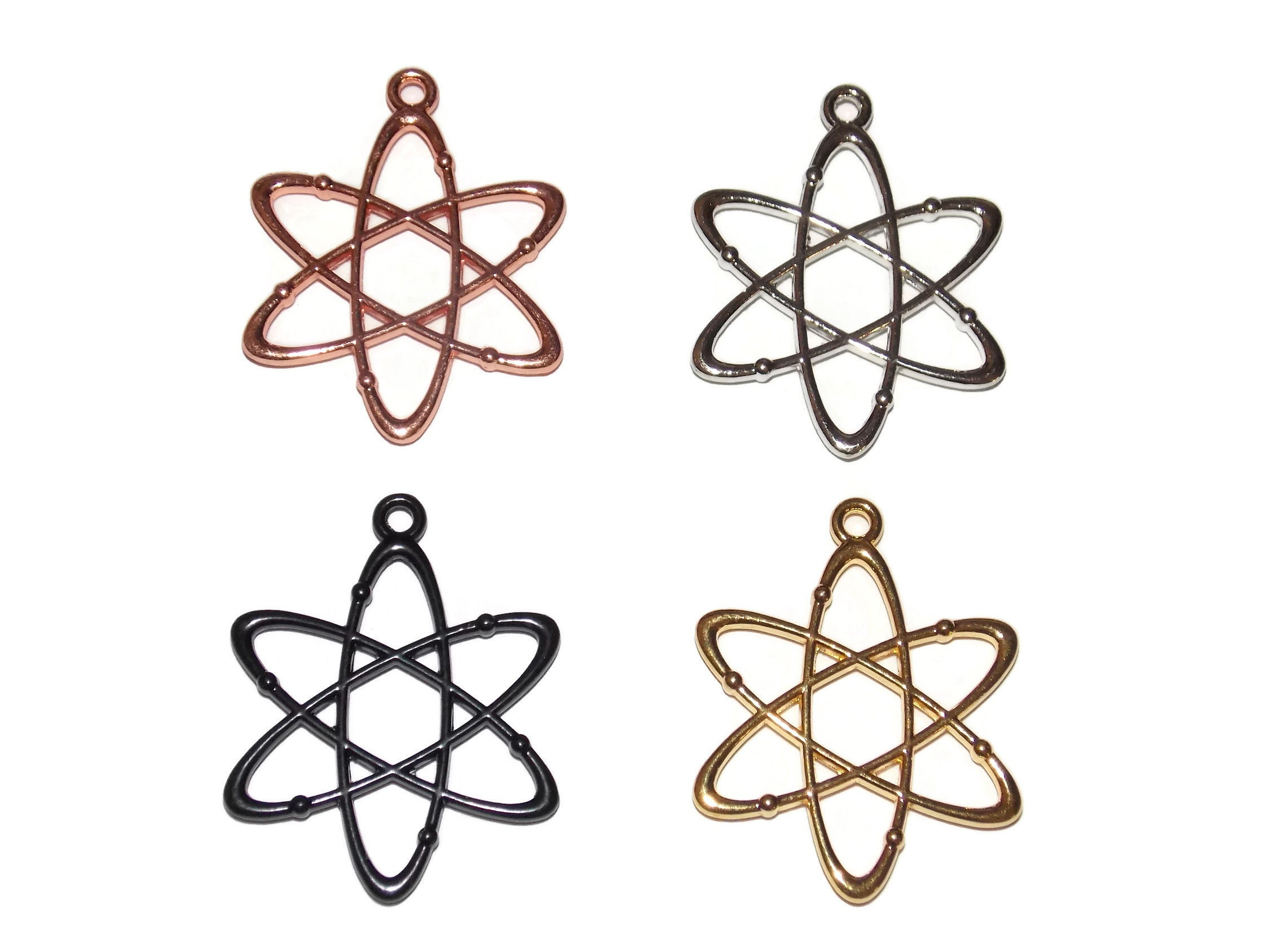 Atom Charms Atomic Symbol Pendants Gold Tone Science Geek Etsy