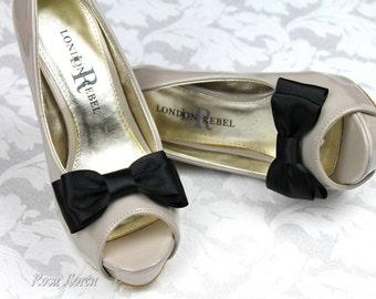 Black Shoe Bows, Black Bow Shoe Clips, Black Wedding Accessories Shoes Clip, Black Bow Clip Shoes