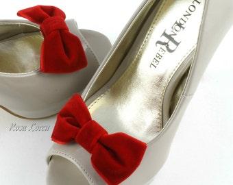 Valentine's Day Red Velvet Shoe Clip, Red Velvet Bow Shoe Clips, Retro Pin Up Girl Clip Shoes