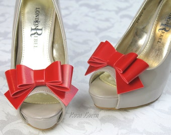 Red Vinyl Shoe Bow Clips, Red Clip on Shoe Bows, Red Bow Shoe Clips