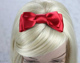 Valentine's Day Red Hair Bow, Red Satin Bow Hair Clip, Red Wedding Accessories