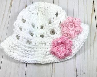 Baby hat, crochet baby hat, sun hat, summer hat, white sun hat, newborn hat