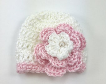 Premie hat, crochet premie hat, pink and white hat, hat with flower, baby hat