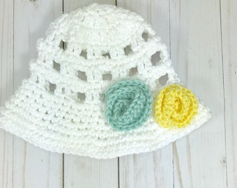 Baby hat, crochet baby hat, sun hat, summer hat, white sun hat, 3-6 month baby hat