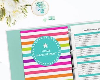 Digital Household Management Binder Kit - Home Management Binder - Over 50 Organizing Printables - INSTANT DOWNLOAD
