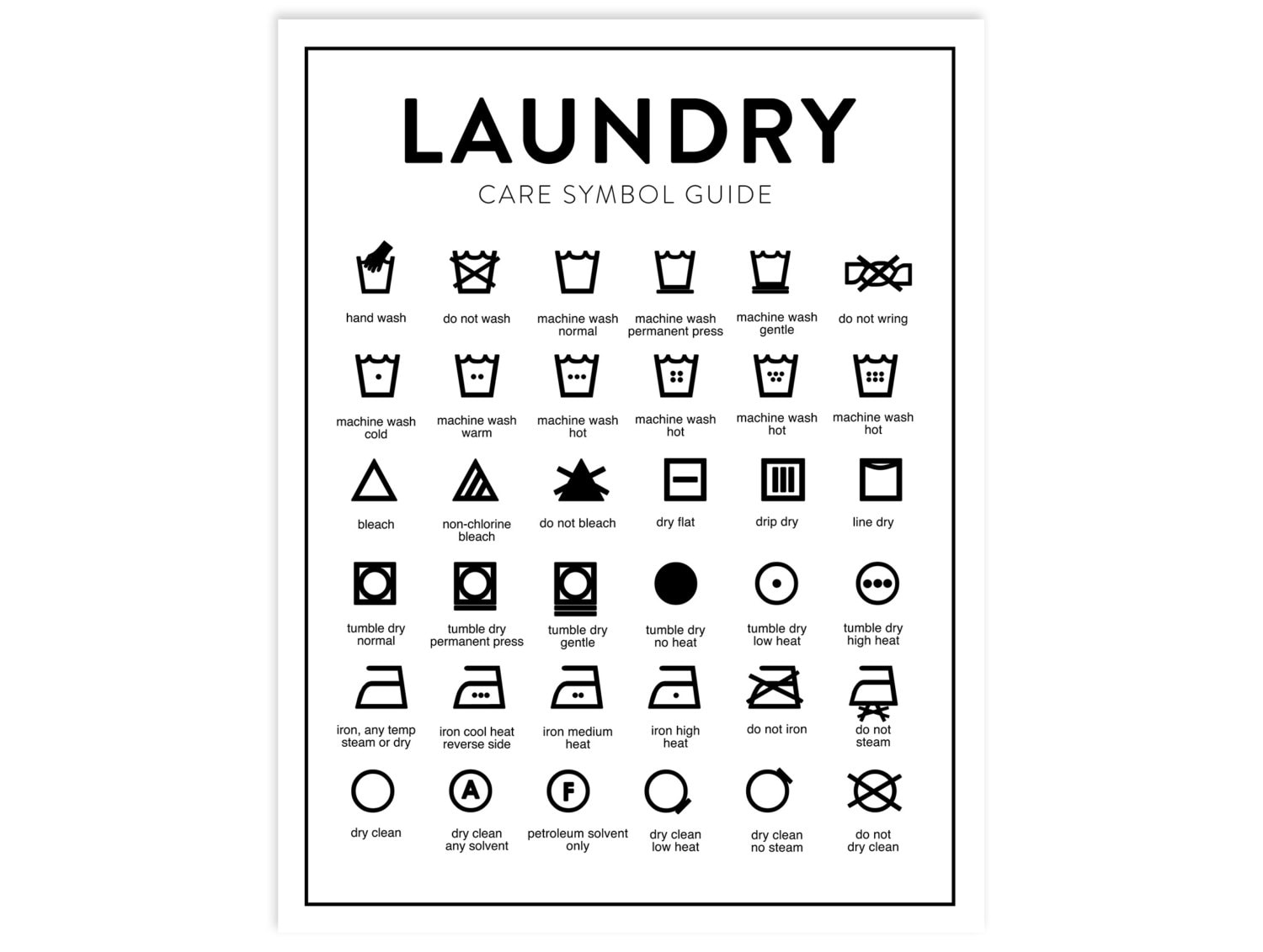 Laundry Care Chart Printable Letter Size Instant Download Etsy