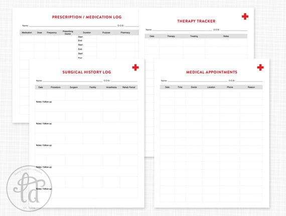 editable medical kit health logs and medical records etsy