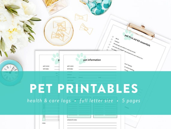 pet printables pet information pet sitter note health etsy