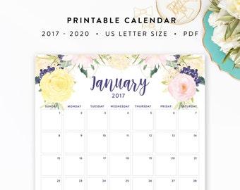 2017 - 2020 Printable Calendar - Floral Watercolor - Letter Size - INSTANT DOWNLOAD