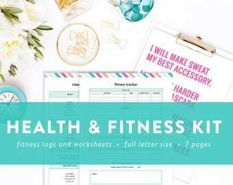 Health and Fitness Kit - Fitness and Diet Tracker - Vitamin and Supplement Tracker - Fitness Goals - INSTANT DOWNLOAD