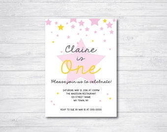 Printable Birthday Invitations, Pink Star Birthday Invite, Falling Star Birthday Invitation, Kid's Birthday Party, Girl Birthday Party