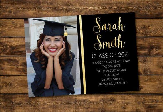 Graduation Invitation Graduate 2018 High School Graduation Etsy