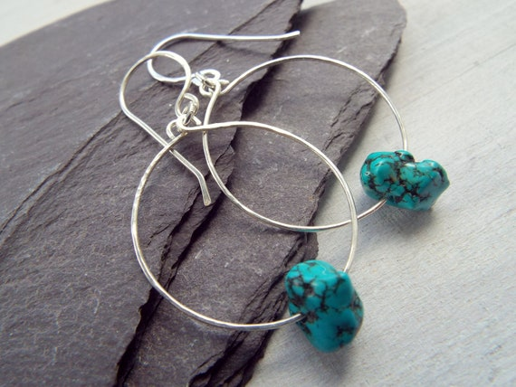 natural turquoise earrings sterling silver hoops Canadian jewellery. turquoise jewelry
