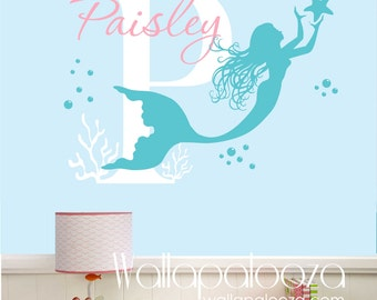 Mermaid Wall Decal   Nursery Wall Art   Custom Wall Art Decal   Girl Name  Decal   Mermaid Wall Art   Mermaid Decor   Wallapalooza Wall Decal