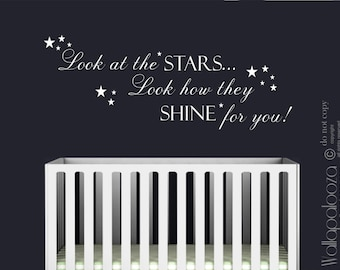 Look at the stars wall decal - Nursery Wall Decal - twinkle star wall decal - star wall decal - nursery decal - wall decal - wall decor