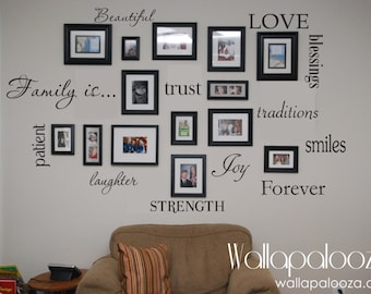 Family Wall Decal   Set Of 12 Family Words   Family Room Wall Decals   Wall