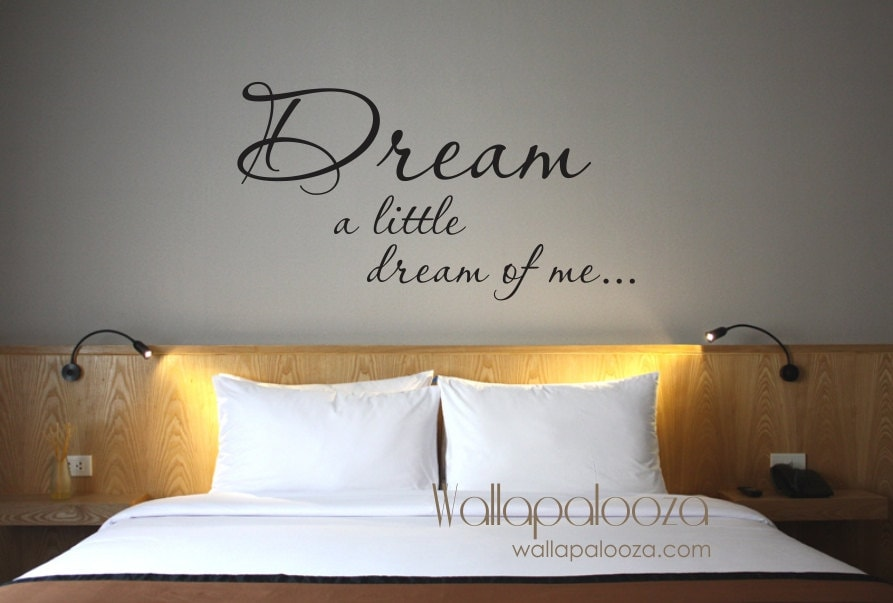 Dream Wall decal - Dream a Little Dream of Me wall decal - Bedroom wall  decor - Dream wall decal - Bedroom - Master bedroom wall decor
