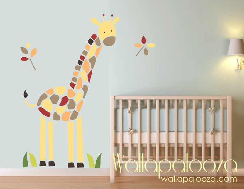 giraffe wall decal nursery wall art giraffe wall art | etsy