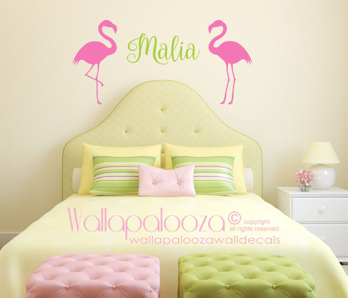 Flamingo Name Wall Decal Nursery Wall Decals Girls Name | Etsy