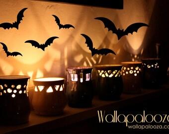 Bats Halloween decoration - Set of 12 decals - Halloween wall decal - bat wall decal