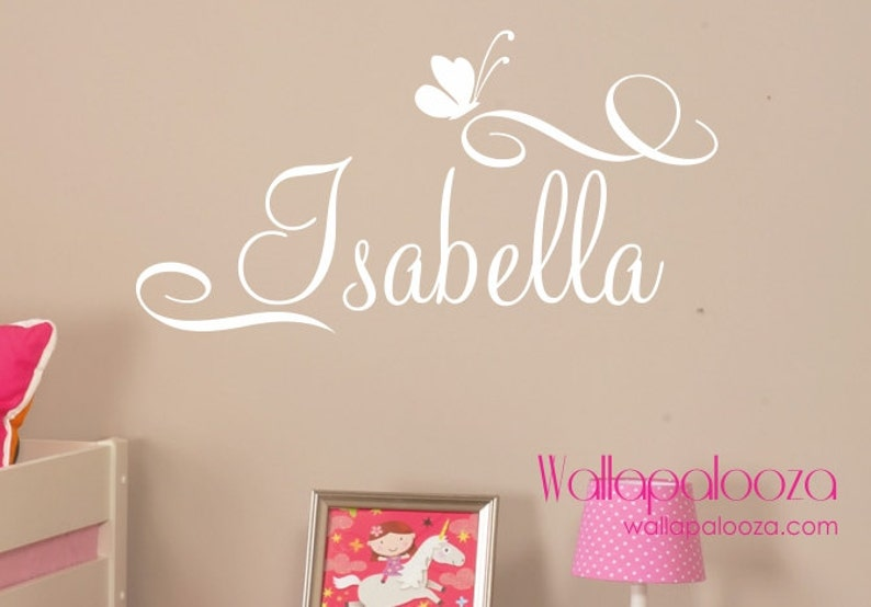 girls name wall decal custom name wall decal butterfly | etsy