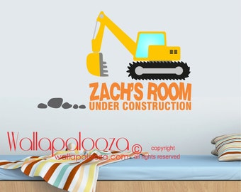 Construction Wall Decal - Nursery Wall Decal - Wall Decal - Wall Decal with Name - Kids Wall Decals - Wall Decor - Boy Wall Decal-Home Decor