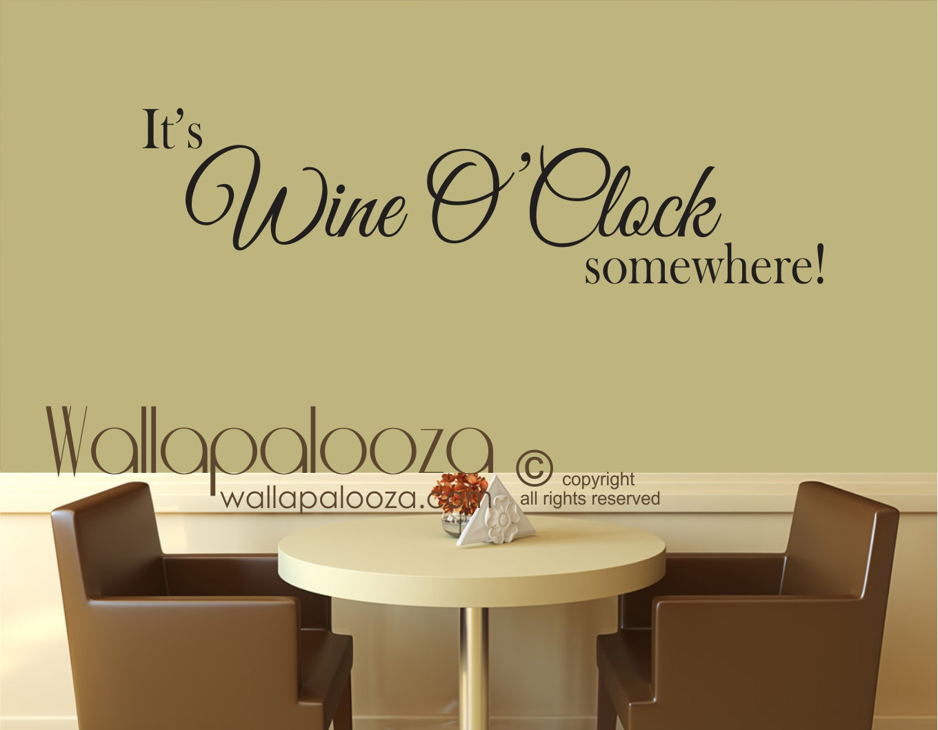Wine Wall Art It\'s Wine O Clock somewhere decal wine | Etsy