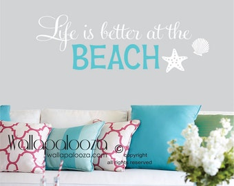 Wall Decals - Life is better at the beach wall decal - beach wall quote - beach wall decal - beach wall decor - Beach - beach decor