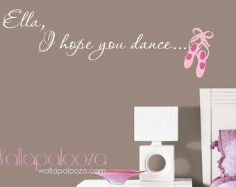 Ballerina Wall Decal   Custom Name Ballet Wall Decal   Dance Wall Decal    Dancing Quote