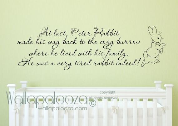 peter rabbit wall decal nursery rhymes nursery wall decal | etsy