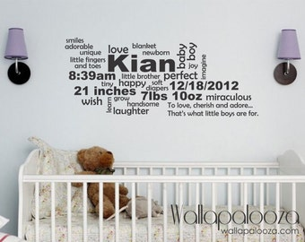 Baby Gift - Baby Announcement Wall Decal - Birth Announcement Subway Art - Nursery Wall Decal - Subway Art - Wallapalooza Wall Decals