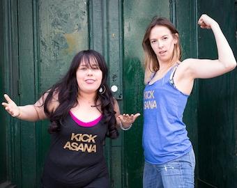 Kick Asana Yoga Tank | Funny Workout Shirts for Women | Hipster Tank Top | Womens Fashion Tank | Bridesmaids Gift for Yogi | Yoga Tank