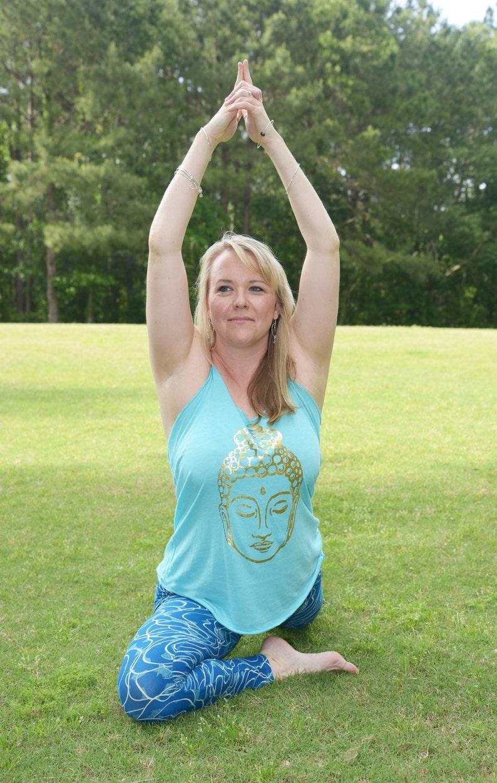 cacaee0b37 Womens Buddha Yoga Tank Top Gold Buddha Workout Wear | Etsy