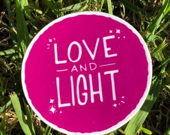Love and Light Sticker | Yoga Sticker | Gift for Yogi | Yoga Teacher Gift | Gift for Her | Inspirational Saying | Inspirational Sticker
