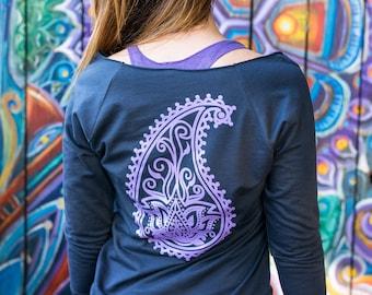 Lotus Flower Sweatshirt | Slouchy Sweatshirt | Cozy Sweatshirt | Yoga Sweater | Yoga Sweatshirt | Lotus Top | Off Shoulder Sweater | Yoga