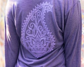 Long sleeve hooded yoga top | Long Sleeve Yoga | Lotus Flower Tee | Womens Hooded Tee | Ladies Pullover | Lotus Flower long sleeve tee
