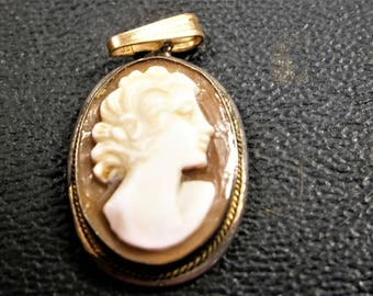 Antique victorian 1880s loose unset italian shell carved cameo etsy hand carved cameo pendant bezel set genuine italian shell cameo 1910s 14k gold filled cameo pendant aloadofball Image collections