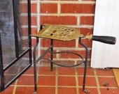 Tall Brass Fireplace Trivet with Wood Handle, Vintage Iron Stand, Fireplace Accessory, Kettle Stand, Metal Plant Stand