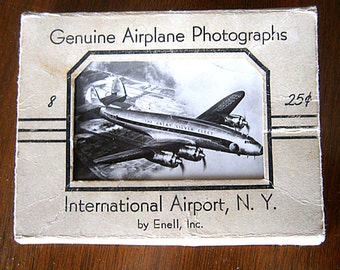 Vintage Souvenir  Airplane Photographs From New York International Airort