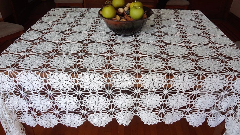 Hand Crocheted Rectangle Table Cover Vintage Tablecloth Etsy