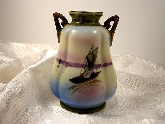 Small Antique Nippon Vase With Handles Porcelain Vase Etsy