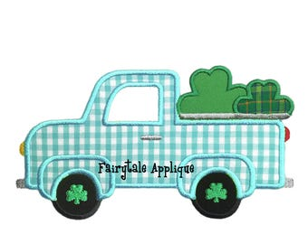 Digital Machine Embroidery Design - St. Patrick's Day Shamrock Truck Applique