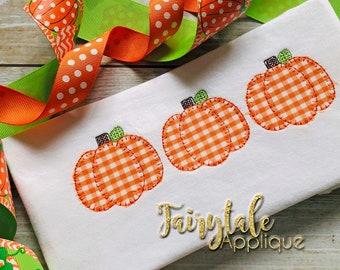 Pumpkin trio applique etsy