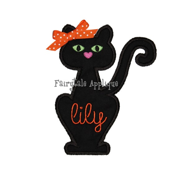 Digital Machine Embroidery Design Black Cat Applique Etsy
