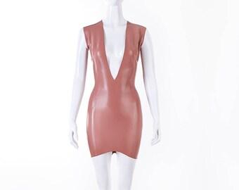V Cleavage Latex Mini Dress