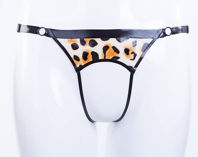 Open Thong With Leopard Print Latex