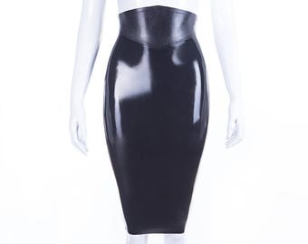 Snake Belt Latex Pencil Skirt With Full Back Zip